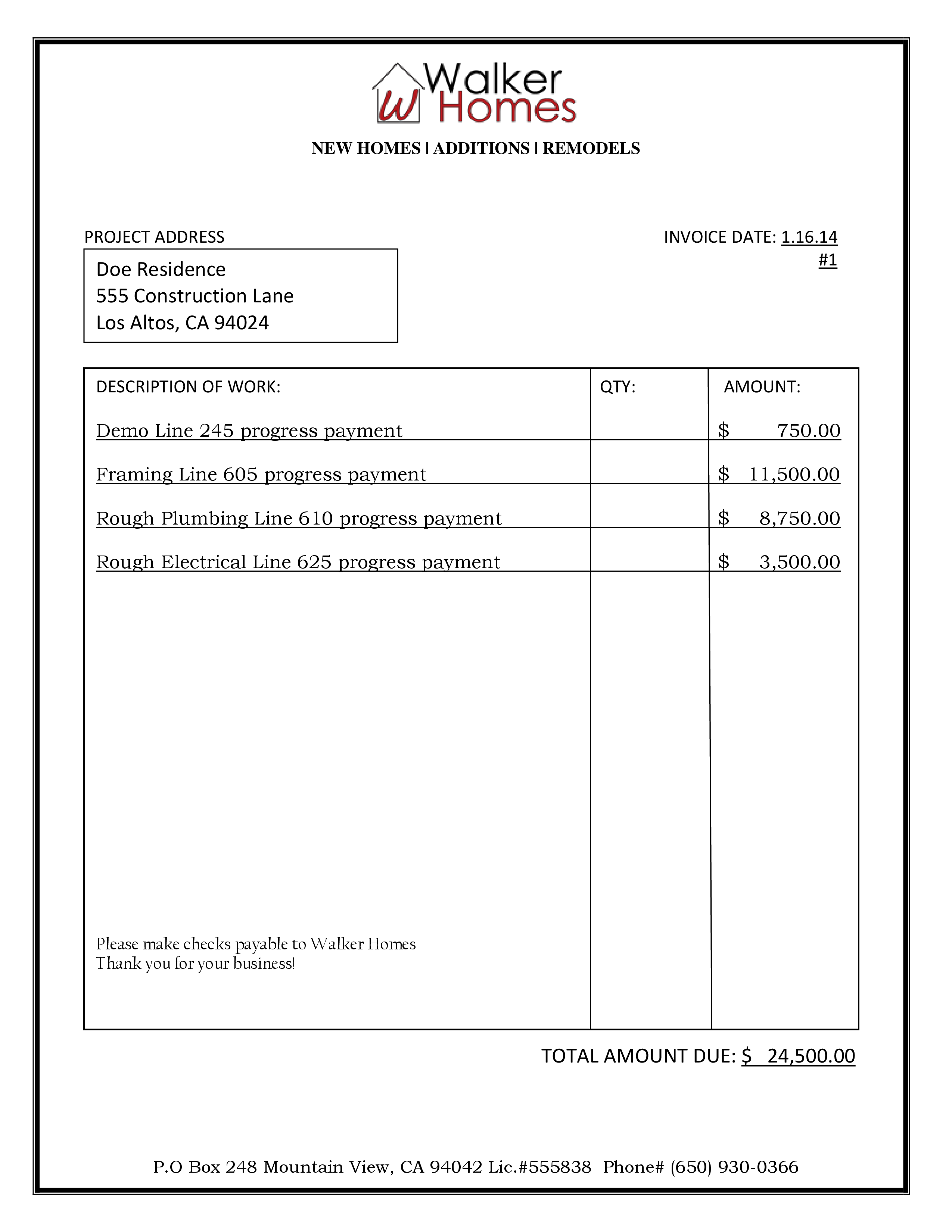 Sample Bid Billing Walker Homes - Final invoice template